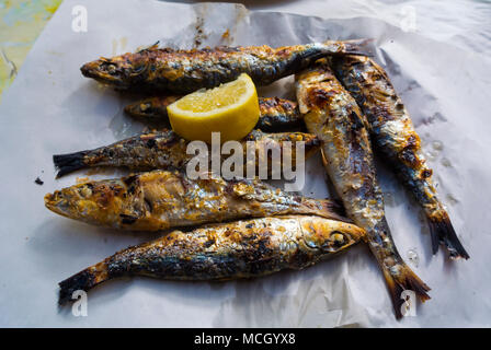 Grilled sardines, Marche Central, central market, Casablanca, Morocco, northern Africa - Stock Image