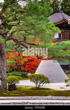 "Famous Ginkaku-ji (Silver Pavilion) officially named Jishō-ji ('Temple of Shining Mercy"")  at autumn day, Kyoto, Kansai, Japan - Stock Image"