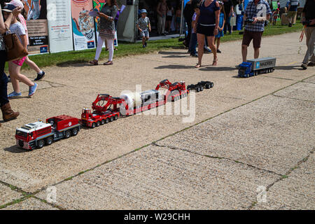90th Kent County Show, Detling, 6th July 2019. Remote controlled heavy load transport carrier and lorry. - Stock Image