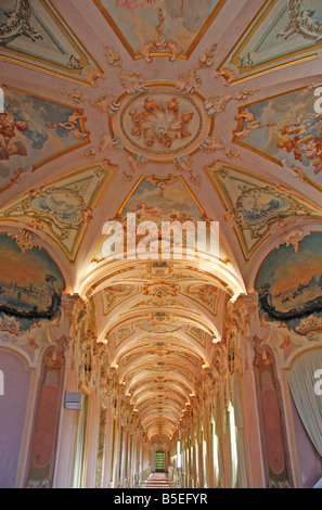 Jesi's most flamboyant building is  Palazzo Pianetti the long galleries are an extravaganza of stucco with magnificent - Stock Image