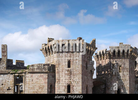 Detail of Raglan Castle in Monmouthshire, Wales - Stock Image
