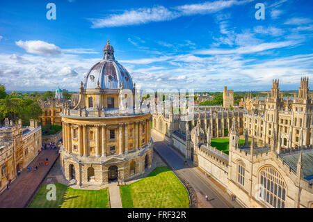 The Bodleian Library, Radcliffe Camera building completed in 1747, viewed from the University church tower. - Stock Image