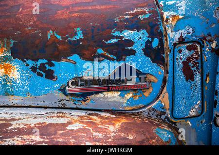 Bielsko-Biala, Poland. 12th Aug, 2017. International automotive trade fairs - MotoShow Bielsko-Biala. Chevrolet Thriftmaster caption on an old Chevrolet Thriftmaster. Credit: Lukasz Obermann/Alamy Live News - Stock Image