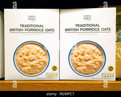 M&S brand traditional British Porridge Oats on display in self service store - Stock Image