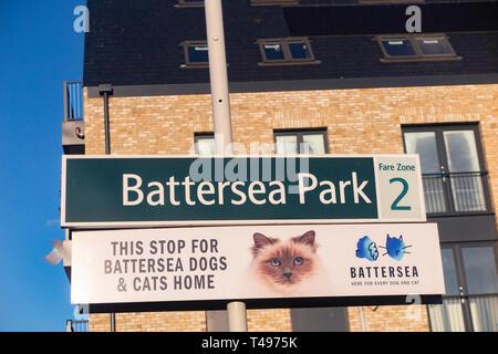 Signs on Battersea Park Station platform - Stock Image