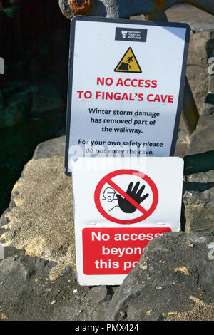 No access signs to Fingal's Cave on Staffa in the Inner Hebrides of Scotland - Stock Image