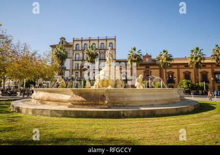 Fuente de Puerta de Jerez, fountain, Fuente de Sevilla, Seville, Andalucia, Spain. - Stock Image