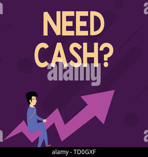 Word writing text Need Cash Question. Business photo showcasing asking someone if you need extra money or dont Businessman with Eyeglasses Riding Croo - Stock Image