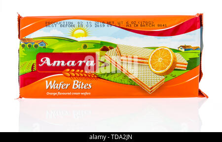 Winneconne, WI - 16 May 2019 : A package of Amara wafer bites on an isolated background - Stock Image