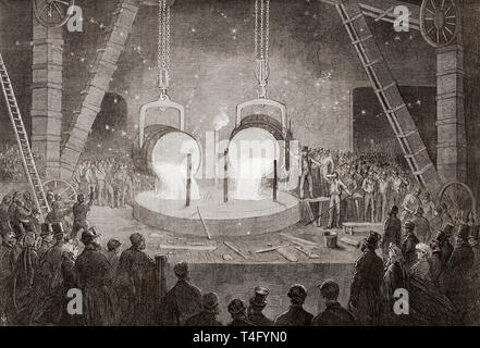 Penn's marine engine factory, Greenwich, London, England, 19th century.  Casting a great cylinder for a marine steam engine.  From The Illustrated London News, published 1865. - Stock Image