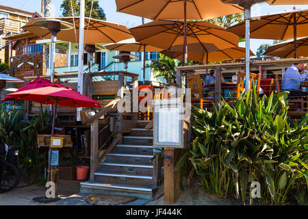 The beach entrance to  at The Beachcomber Restaurant at Crystal Cove State Park California USA - Stock Image