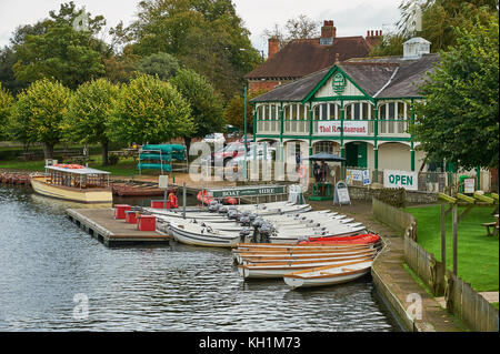 The old boathouse on the banks of the River Avon in the centre of Stratford upon Avon is one of the locations tourists - Stock Image