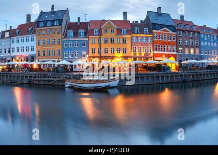 Panorama of Nyhavn in Copenhagen, Denmark. - Stock Image