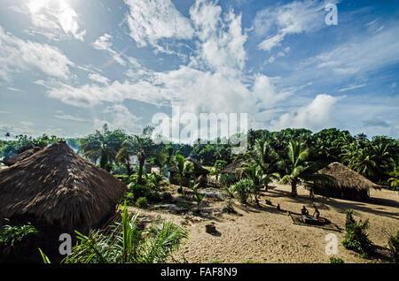Remote village on Yele Island (the Turtle Islands), Sierra Leone. - Stock Image