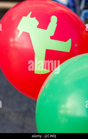 Germany, Berlin. Balloon with Ampelmann Cafe icon. Credit as: Wendy Kaveney / Jaynes Gallery / DanitaDelimont.com - Stock Image
