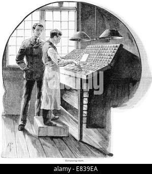Composing type setting room circa 1885 - Stock Image
