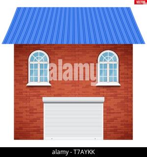House facade with Garage roller shutter system and two windows. Sample project of house buildings. Vector Illustration isolated on white background. - Stock Image