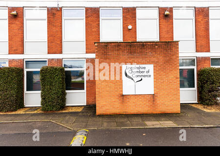 Lincolnshire chamber of commerce building sign Lincoln UK England - Stock Image
