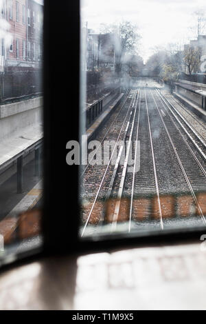 Urban train tracks, Brooklyn, New York City, New York, USA - Stock Image