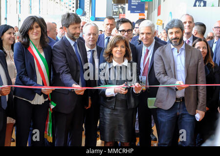 Turin, Piedmont, Italy, 10th May, 2018. International Book fair 2018,first day.The inauguration ceremony with the ribbon cut by the local and national authorities: RENATO VALTERZA/Alamy Live News - Stock Image