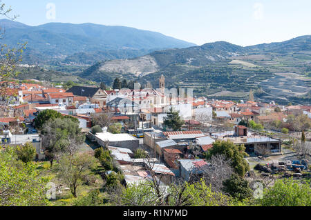 View of village, Omodos (Troodos Mountains), Limassol District, Republic of Cyprus - Stock Image