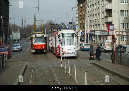 Tatra T3R & Škoda T14 Tramcars in Prague - Stock Image