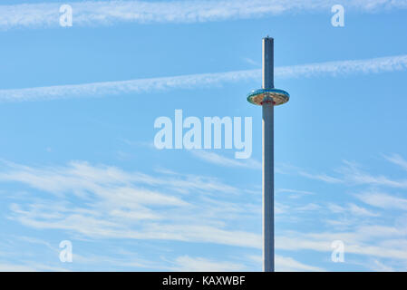 Detail shot of British Airways' i360 viewing tower in Brighton. - Stock Image