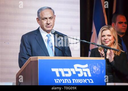 TEL AVIV, ISRAEL. March 17, 2015. Prime Minister of Israel Benjamin Netanyahu with his spouse Sara Netanyahu by him speaking at the Likud party event - Stock Image