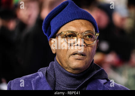Samuel L. Jackson at the UK Premiere of GLASS on Wednesday 9 January 2019 held at Curzon, Mayfair, London. Pictured: Samuel L. Jackson. Picture by Julie Edwards/LFI/Avalon.  All usages must be credited Julie Edwards/LFI/Avalon. - Stock Image