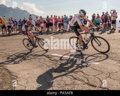 Chris Froome Team Sky Dan Martin UAE Emirates Tour de France 2018 cycling stage 11 La Rosiere Rhone Alpes Savoie France - Stock Image