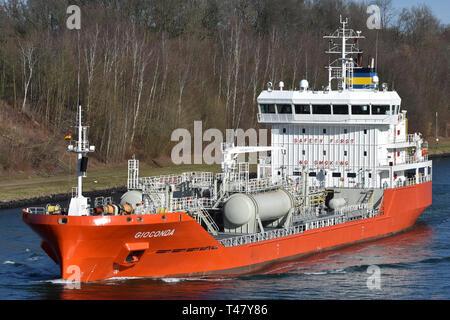 Gioconda passing the Kiel Canal - Stock Image