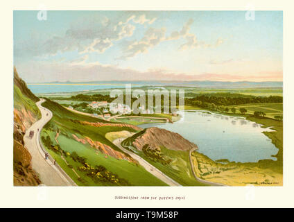 Vintage print of Duddingston from the Queens Drive a former village in the east of Edinburgh, Scotland, next to Holyrood Park. - Stock Image