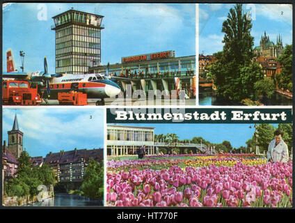 GERMANY - CIRCA 1970: A postcard printed in Germany, shows a cityscape of Erfurt. Inscription in German: Erfurt - Stock Image