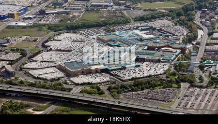 aerial view of Meadowhall Shopping Centre, Sheffield, UK - Stock Image