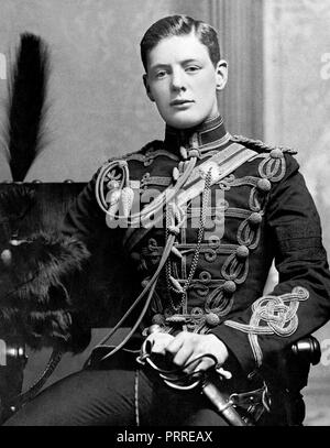 2nd Lieutenant Winston Churchill of the 4th Queen's Own Hussars in 1895. - Stock Image