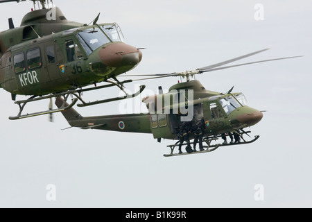 Two Bell 412HP Slovenian helicopters flying together, Airshow Maribor 2008, Slovenia June 15, 2008 - Stock Image