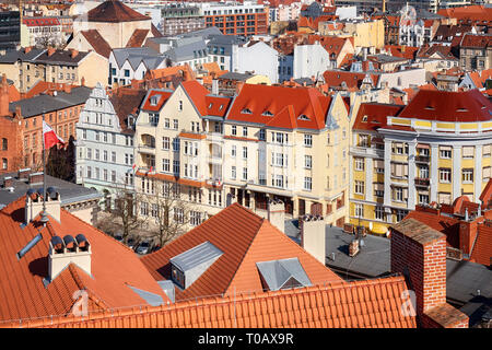 Aerial view of downtown Poznan, Poland. - Stock Image