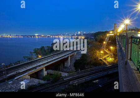 Hamilton waterfront skyline from the historic Thomas B. McQuesten High Level Bridge, a truss bridge and an iconic gateway to the city, above the railw - Stock Image