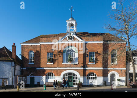 The historic town hall in the small town of Whitchurch in Hampshire, UK - Stock Image