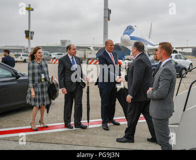 U.S. Secretary of State Michael R. Pompeo is greeted by U.S. Ambassador to the European Union Gordon Sondland and U.S. Ambassador to the Belgium Ronald Gidwitz upon arrival to Brussels, Belgium on July 10, 2018. - Stock Image