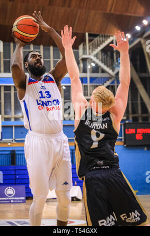 London, UK, 20th April 2019. Orlan Jackman (13) with the ball for Royals. Tensions run high in the London City Royals v Glasgow Rocks BBL Championship game at Crystal Palace Sports Centre. Home team LCR win the tight game 78-70. Credit: Imageplotter/Alamy Live News - Stock Image