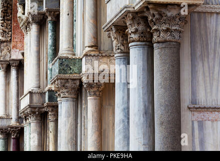 Marble columns of St. Mark's Basilica; Venice, Italy - Stock Image
