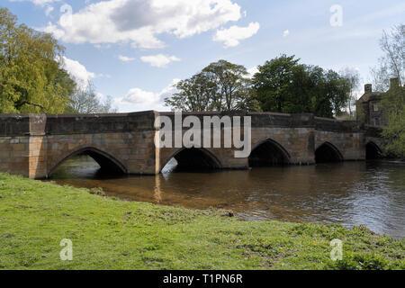 Bakewell Bridge across the River Wye in Derbyshire England UK - Stock Image