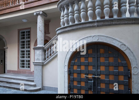 Architectural details of redevelopment work in the Altstadt (old town) new Dom Romer quarter, Frankfurt am Main, Hesse, Germany - Stock Image