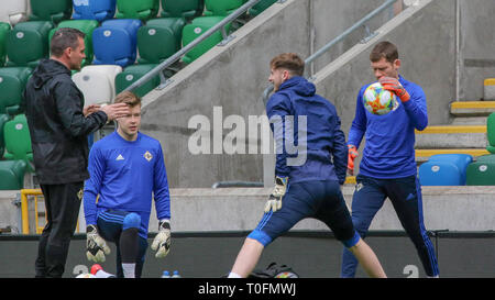 Windsor Park, Belfast, Northern Ireland.20 March 2019. Northern Ireland training in Belfast this morning ahead of their UEFA EURO 2020 Qualifier against Estonia tomorrow night in the stadium. Goalkeeping coach Steve Harper (left) with Bailey Peacock-Farrell, Conor Hazard  and Michael McGovern. Credit: David Hunter/Alamy Live News. - Stock Image