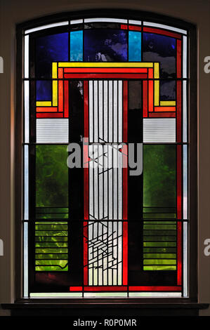 'Advent', North aisle window by Brian Clarke. Christ Church, Thornton-le-Fylde, Lancashire, England, United Kingdom, Europe. - Stock Image