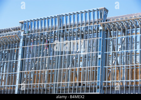 Construction , beam, blue sky, builder, building, change, clear sky, close up, close-up, color images, construction - Stock Image