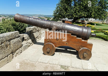 Cannon in the garden of the city of Chaves in Portugal - Stock Image