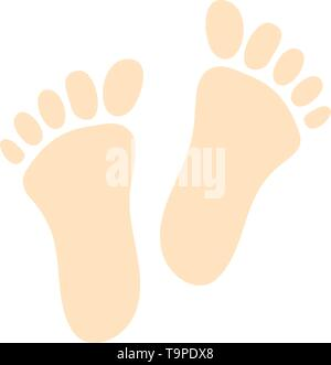 Foot Print Icon. Flat Color Design. Vector Illustration. - Stock Image