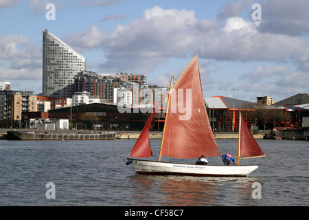 Yachting in Docklands London view from South Quay - Stock Image